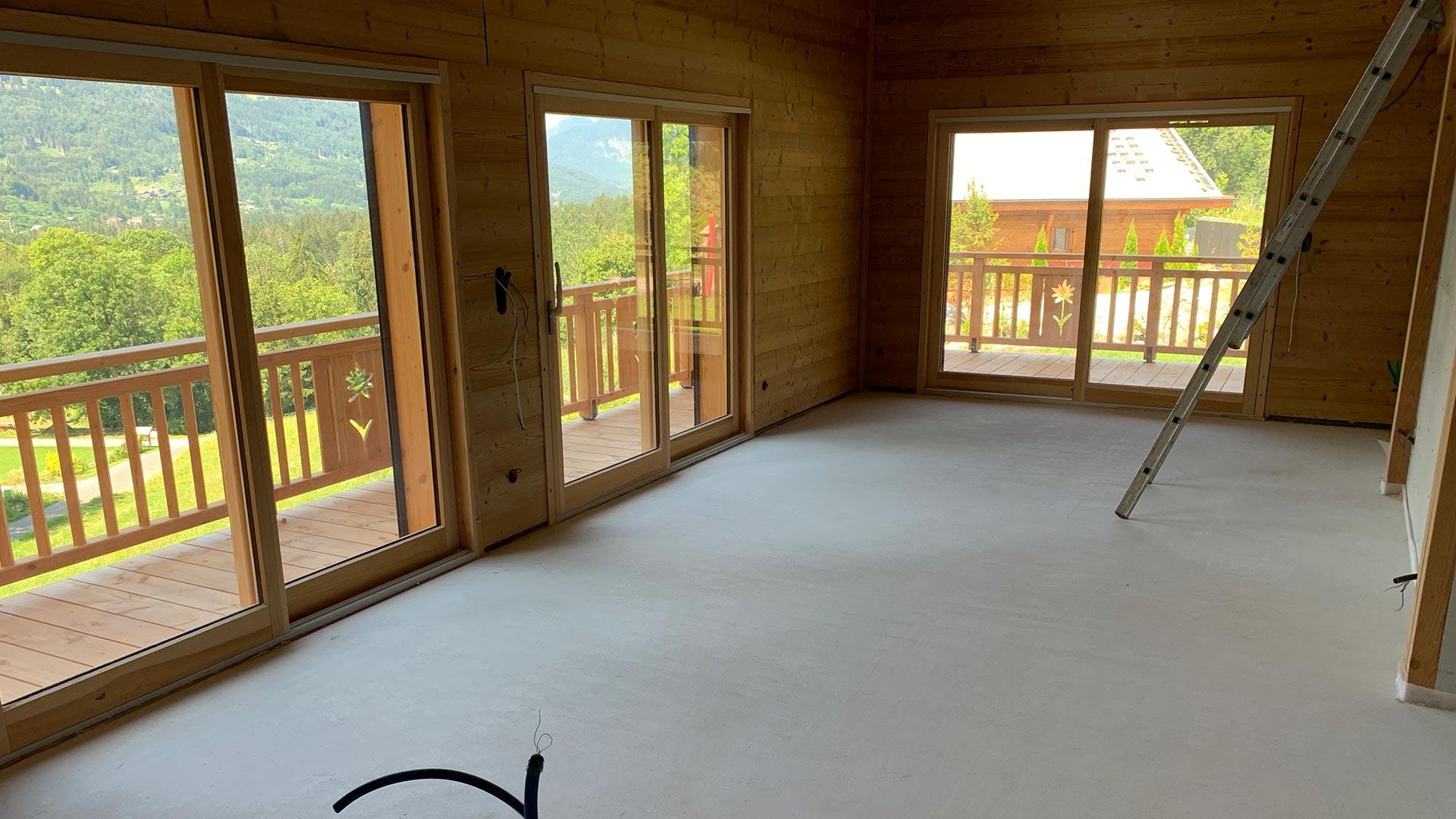 Chape anhydrite SP sur plancher chauffant à Samoëns en Haute Savoie (74)