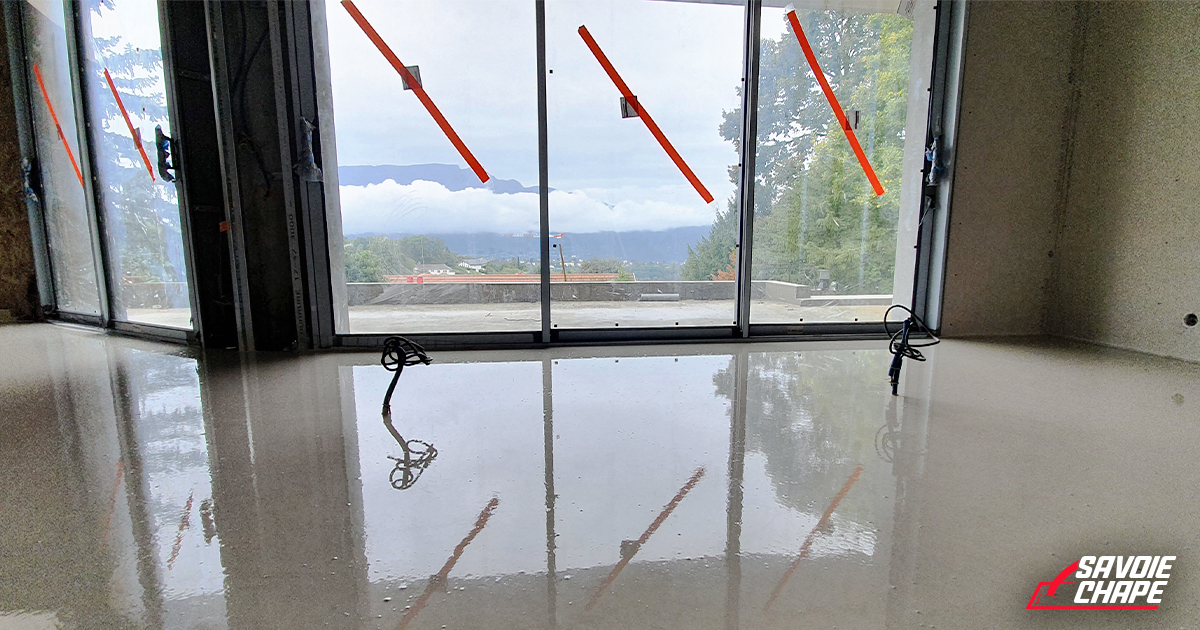 Chape liquide anhydrite au sein d'une villa de 140 m2 à Mouxy - 4